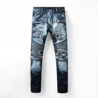Royal wolf denim jeans manufacturer dark blue distressed biker jeans ripped design jeans with bleach