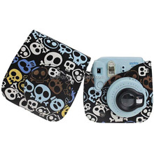 Vintage Skull Printed PU Leather camera Accessories Cell Phone Case For fujifilm Instax Mini 70 8 7s 25 50s 90