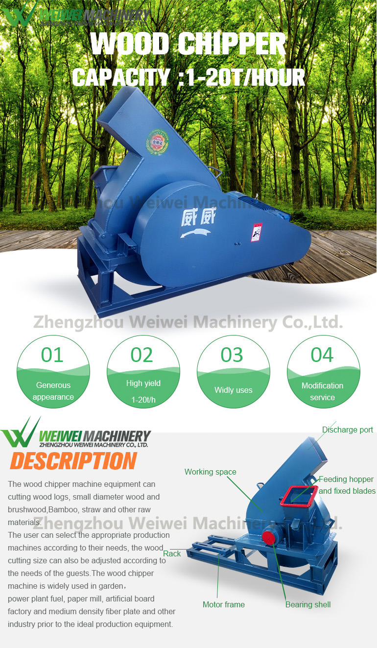 Weiwei machinery disc chipper diesel wood chipper