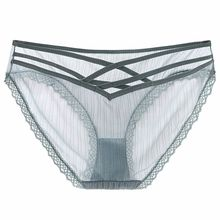 High quality hollow lace low waist underwear lady ice silk transparent triangle sexy panty