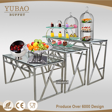 Luxury design wedding table decoration glass top catering table, used folding tables for sale