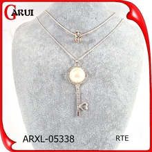 Fashion statement necklace big pearl key pendant statement necklace designs