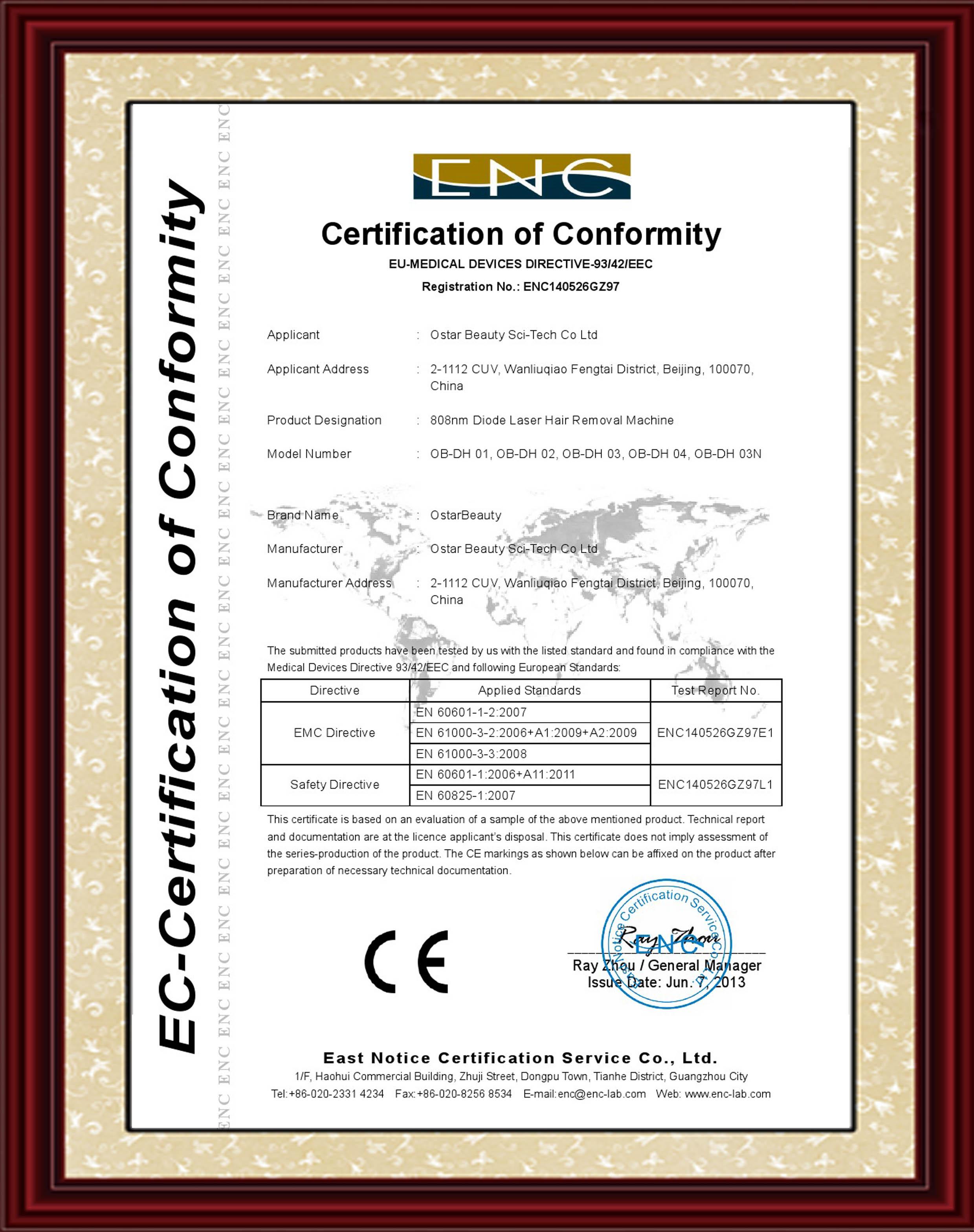 Certification ostar beauty sci tech co ltd diode laser eu mdd peel systemeu mdd xflitez Choice Image