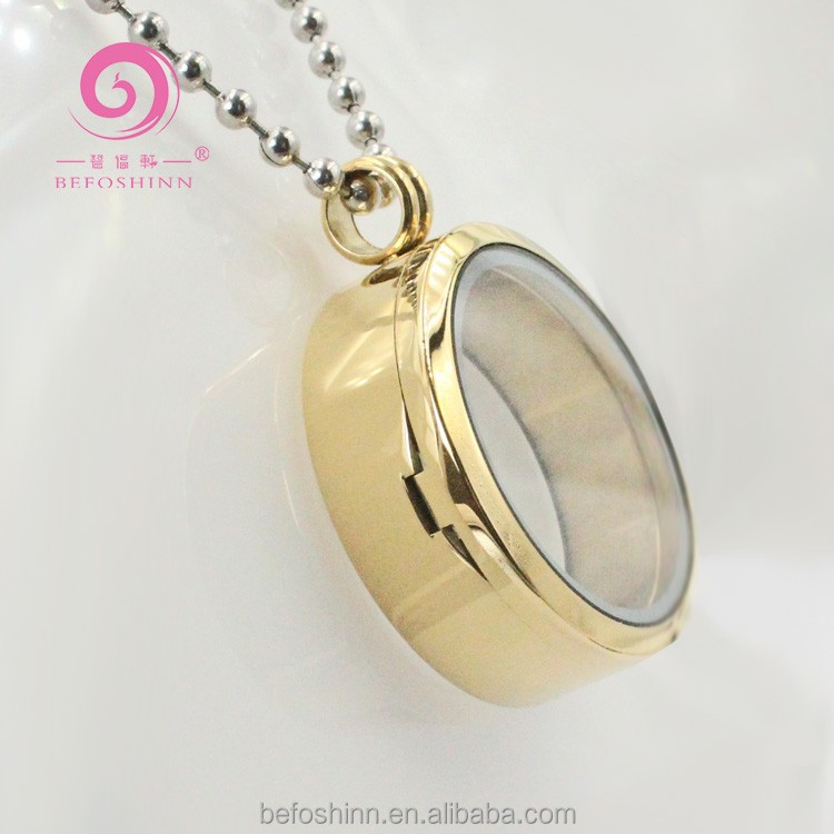 Gold Locket Round Window magnet thickening 12mm designer inspired fashion <strong>jewelry</strong>