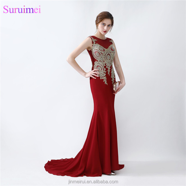 Burgundy Chiffon Prom Dresses With Gold Embroidery Beaded Mermaid Prom Gown Free Shipping