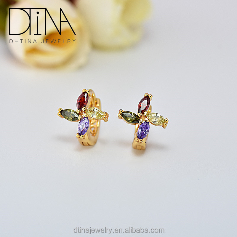 Dtina 18K gold plated windmill shaped jewelry earrings