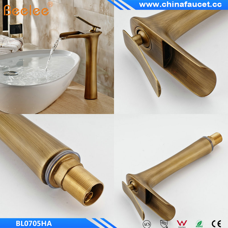 Antique Brass Finish Single Handle Single Hole Bathroom Waterfall Basin Mixer Vessel Faucet Tap