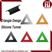 HT Geometry Triangle Shaped Multicolor Flexible Silicone Plugs Flesh Tunnel Ear Gauges Kits