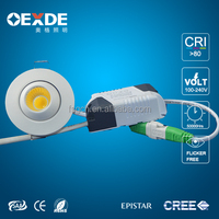 round mini downlight commercial shop used 3w spotlight dimmable 110V 220V cob recessed ceiling light rotatable led light