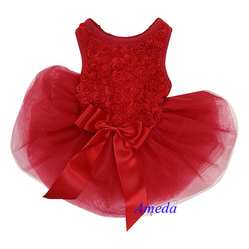 Valentine's Day Red Rosettes Pageant Tutu Dog Pet Clothes Party Dress XS-L