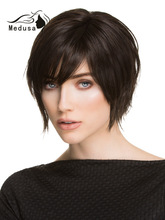 Cute Short Straight Black Lace Front European Human Hair Wig For White Woman