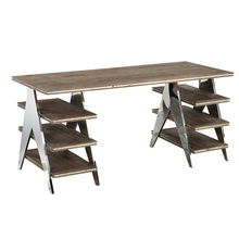 Luxurious industrial recycled elm shelf and stainless steel frame antique furniture office desk