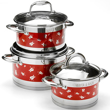 6Pcs Dot Flower Pattern Stainless Steel Cooking Pots Cookware Sets Kitchen