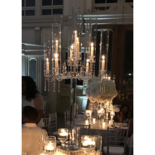 Luxury nine light votive hurricanes crystal candelabra wedding table centerpiece