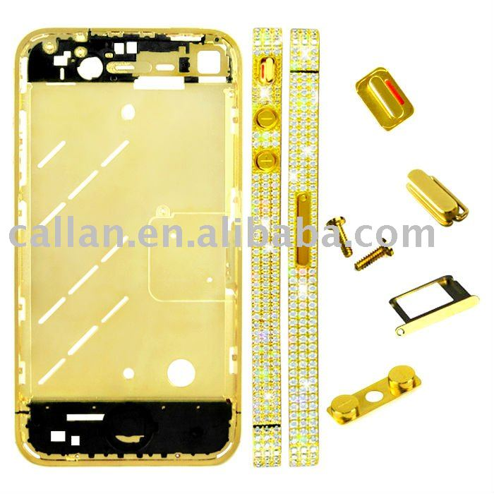 Diamond Middle Plate Housing Faceplates 24K Gold for iphone 4
