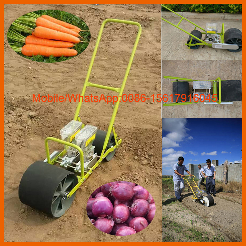 Two line hand push carrot seeder