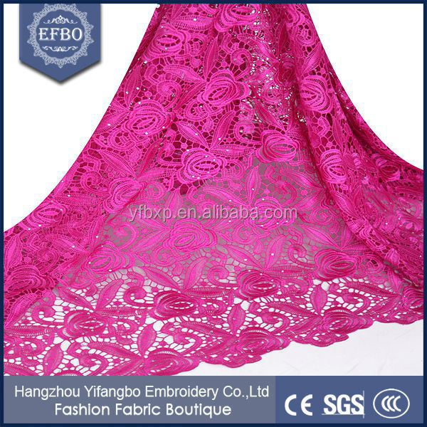 Guangzhou African cord lace dress styles embroidery fabric aso ebi / Free sample fast shipping Nigeria guipure lace with stones