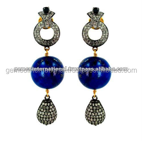 Pave Diamond Vintage and Victorian Dangle Earrings Lapis Gemstone Earrings Gold Silver Jewelry Wholesale Supplier