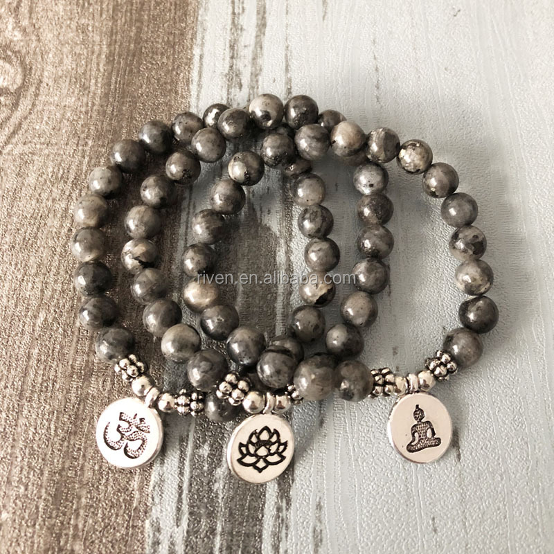 SN1329 Men Women Japa Mala OM Bracelets Lotus Buddha Yoga Charm Wrist Black Labradorite Beaded Wrist Boho Yoga Black Jewelry
