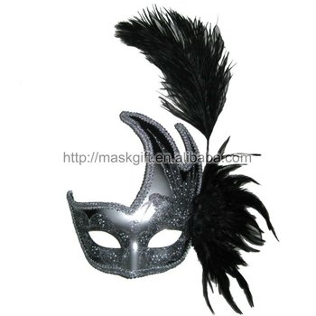Handmade Black and Silver Mardi Gras Ostrich Feather Masks