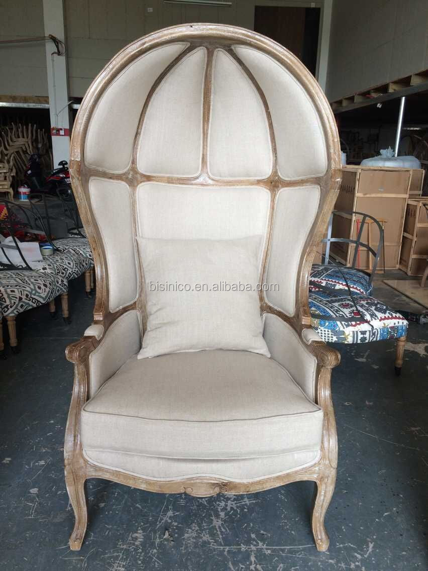French Provincial Living Room Decor Birdcage Chair/ Vintage Limed Gray Wooden Linen Canopy Birdcage Chair, Leisure Egg Chair