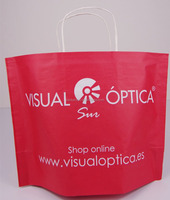 Simple stand up red kraft paper bags with white twisted handle