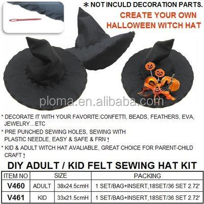 DIY FELT SEWING WITCH HAT SET