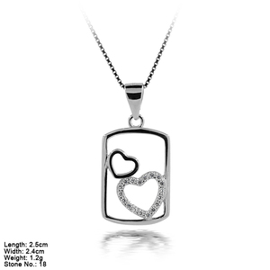 PZA2-123A Top Design 925 Sterling Silver Heart Square Pendent With CZ Stone For All Markets