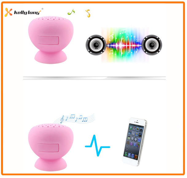 Mobile Phone Stand Sucker Speaker with Bluetooth Waterproof Shower Music Player