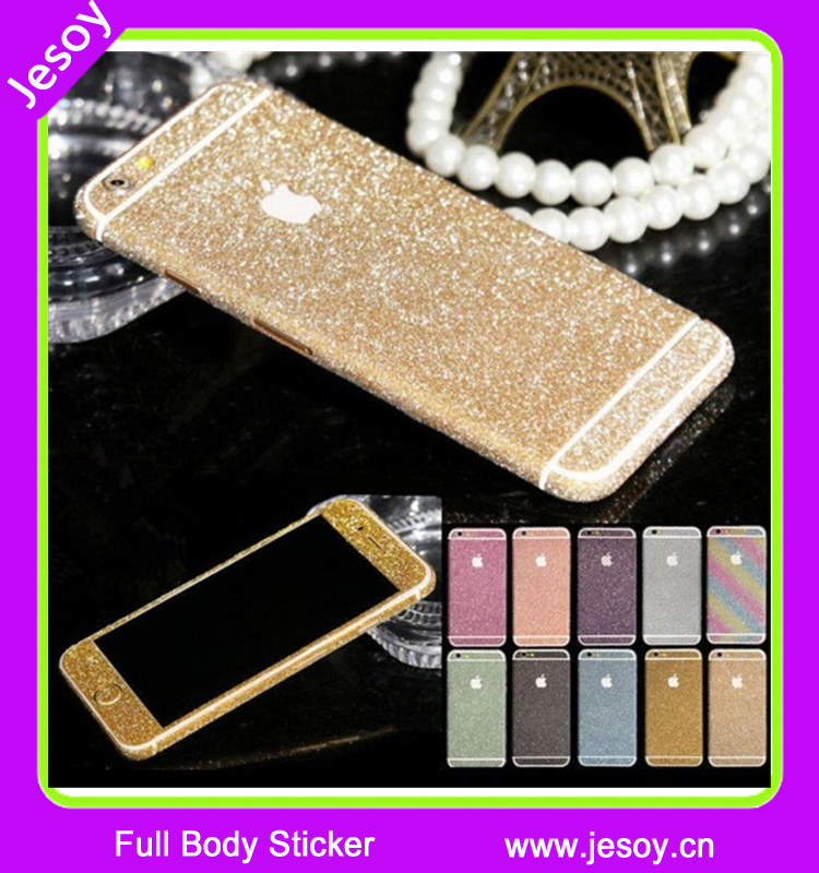 JESOY Bling Glitter Case Full Body Sticker Skin Wrap Screen Protector Case Cover For iPhone 4 5 5S 5C 6 6S plus