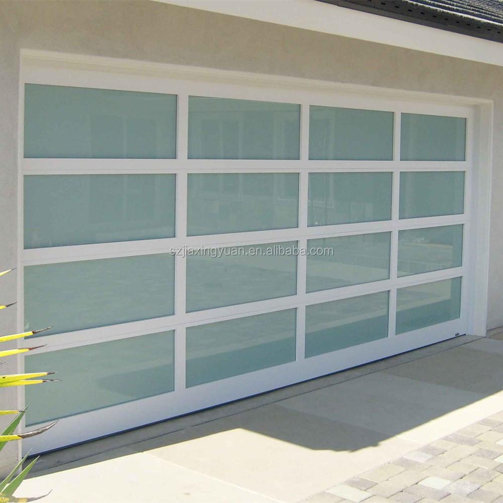 Metal Frame Window Panels : Modern aluminum frame full view glass panel garage door