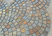 Wellest Rusty Brown Multi Color Slate Fan Shape PaverPaving Stone cheap paving stone Meshed Stone