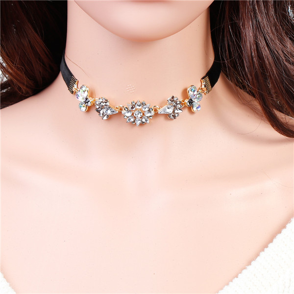 New Design Choker Necklace Gold Plated Black Flower AB Color Rhinestone Charm Chokers