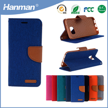 2017 hot selling jean pu wallet case for apple iphone 7