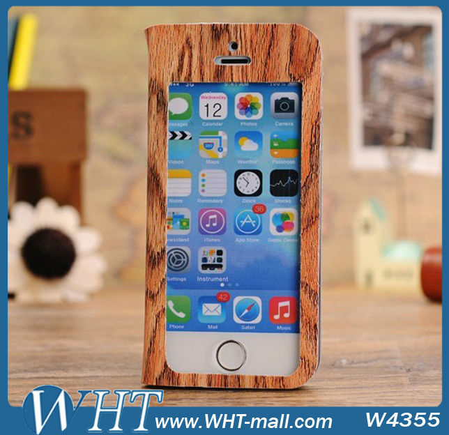 Wooden Pattern Leather Stand Cover Phone Case For iPhone 5C,Full Touch-Screen