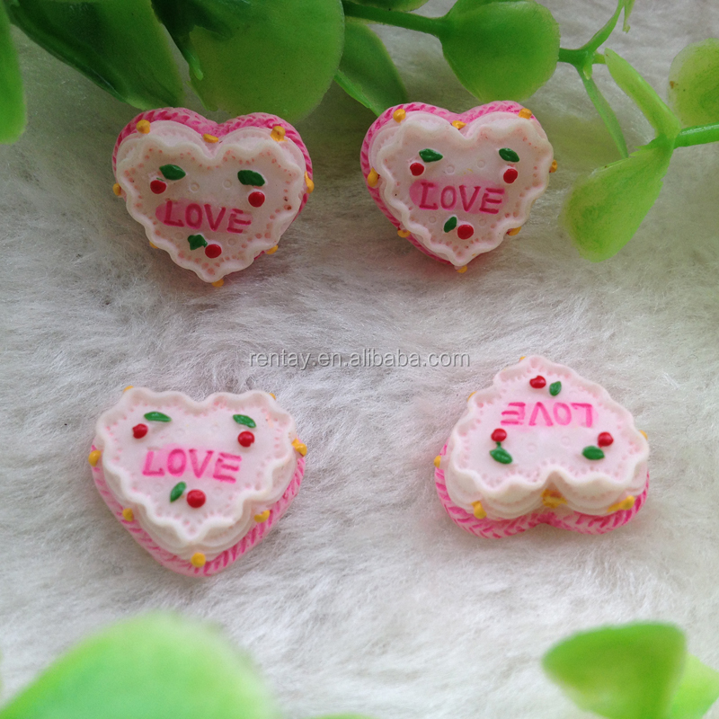 Newest Design 15mm Heart Love Flat Back Kawaii Resin Cake Cabochons Fake Food Crafts for Jewelry Making