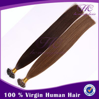 Hot selling flat tip hair human weft indian women i tip hair 18&quot