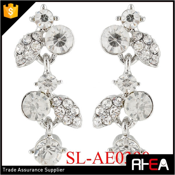 Art Deco Silver Elegant Popular Zinc Alloy Rhinestones Dangle Earring Bridal Earring