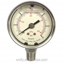 stainless steel liquid filled low pressure gauge