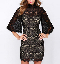 DY1740W Europe hot sale ladies sexy turtleneck lace see-through mini dress