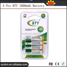 4 Pcs 1000mAh AAA 1.2V Ni-MH Rechargeable Battery