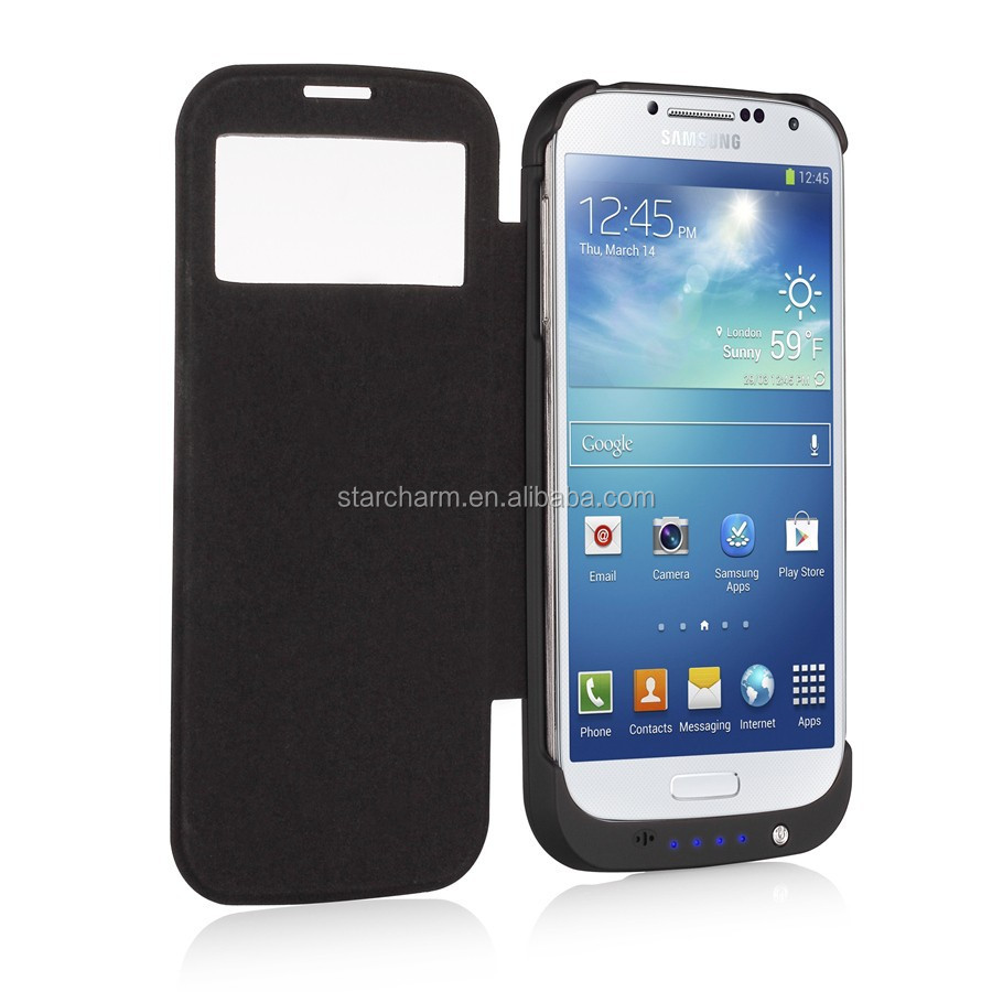 PU Leather Protective Back Battery Pack Case Cover for Samsung Galaxy S4