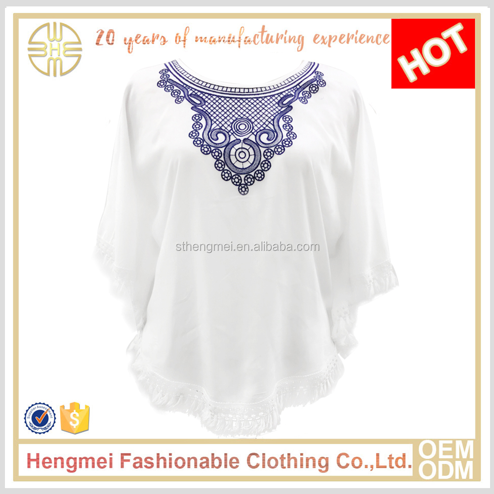 HENG MEI Factory Wholesale Latest fashion Lady White Embroidered Batwing Sleeve Cotton Blouse