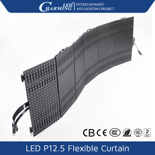 Portable soft curtain folding flexible curtain led 12.5mm video led stage curtain screen with cheap price with CE RoHs