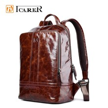 ICARER 2017 New Design Vintage Waterproof Genuine Leather Backpack