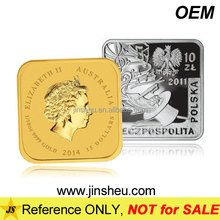 Promotion Money Art Old Souvenir Silver Gold Custom Metal Square Coins
