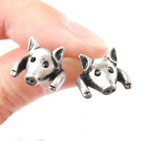 10pcs Hot Selling Vintage Pig Realistic Animal Stud Earrings Pig stud earrings for Women Free Shipping ED0108