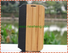 100% Brand new flip wood leather cases for samsung S4, for samsung i9500 case bumper