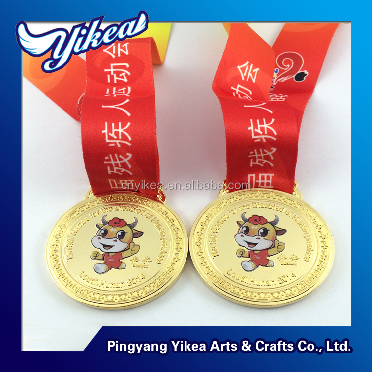 Customized metal award printed sporting 3d gold medal with printed logo ribbon