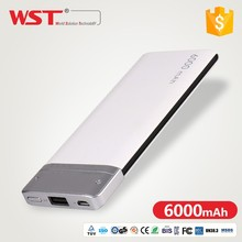 SZWST New Year Gift Set For Birthday Rohs Colorful USB Leather 100% Original 6000Mah Power Bank